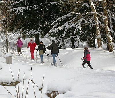 Schneeschuhlaufen im Kurpark Schierke