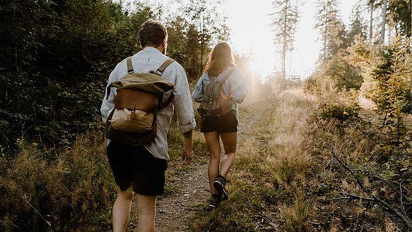 Ein Paar wandert im Nationalpark Harz der Sonne entgegen