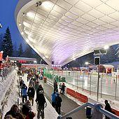 Blick Schierker Feuerstein Arena in Richtung Restaurant