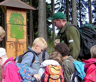 Kindergruppe auf dem Löwenzahnpfad in Drei Annen Hohne